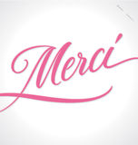 MERCI hand lettering (vector) Stock Photos