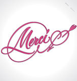 MERCI hand lettering (vector) Royalty Free Stock Images