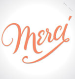 MERCI hand lettering (vector) vector illustration