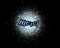 Merci lettering isolated on glitter background stock illustration
