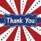 Merci message avec les étoiles bleues avec les lignes rouges et blanches d'éclat images stock
