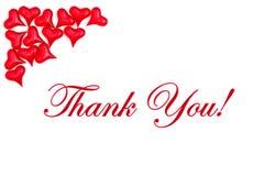 Merci message avec les coeurs rouges image stock