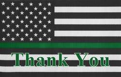 Merci message sur un drapeau mince américain de Ligne Verte photo stock