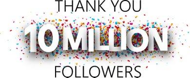 Merci, 10 millions de disciples Bannière avec les confettis colorés illustration stock