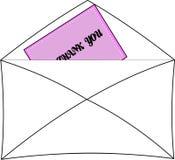 Merci noter dans l'enveloppe Photographie stock