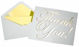 Merci noter l'enveloppe de lettre de message ouvrant les mots 3d Photos stock