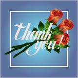 Merci pour carder, un bouquet de trois roses et le lettrage Photos stock