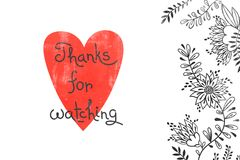 Merci pour l'observation Carte pour le contenu social de media Dirigez l'illustration tirée par la main avec le coeur, les fleurs illustration stock