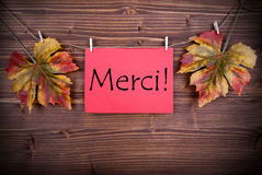 Merci on a Red Label Royalty Free Stock Photo