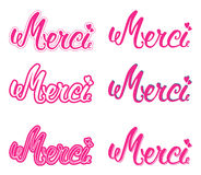 Merci set hand lettering. The handwritten word Thank you in French. Stock Image