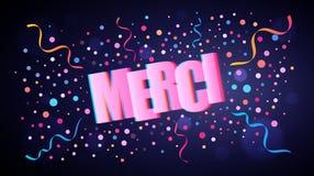 Merci som överlappar festlig bokstäver med färgrika runda konfettier royaltyfri illustrationer