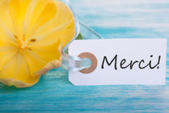 Merci Tag. Tag with the French Word Merci which means Thanks Stock Photo