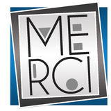 Merci Text Blue Grey Blocks Stock Photos