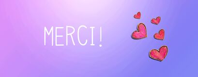 Merci - Thank you in french language with red heart drawings