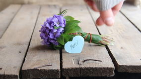 Merci, written on tag and flowers stock footage