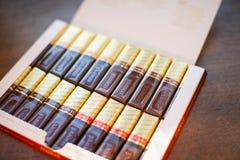 Mercichocolade - merk van chocoladesuikergoed door het Duitse die bedrijf August Storck wordt, in meer dan 70 landen wordt verkoc stock afbeelding