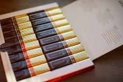 Mercichocolade - merk van chocoladesuikergoed door het Duitse die bedrijf August Storck wordt, in meer dan 70 landen wordt verkoc royalty-vrije stock afbeelding