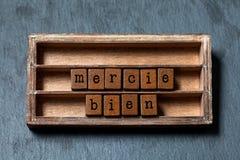 Mercie bien Tacka dig som mycket är skriftlig i fransk översättning Tappningask, träkubuttryck med bokstäver för gammal stil arkivbilder