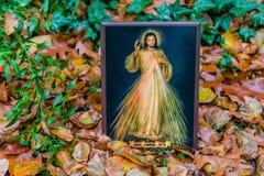 Merciful Jesus icon among fallen Autumn leaves Stock Image