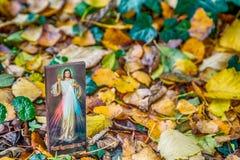 Merciful Jesus icon among fallen Autumn leaves Stock Photo