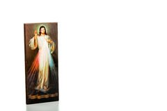 Merciful Jesus image with blank ribbon Royalty Free Stock Photo