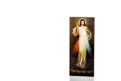 Merciful Jesus image with blank ribbon Stock Photos
