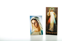 Merciful Jesus and Our Lady of Medjugorje the Blessed Virgin Mar Stock Photography
