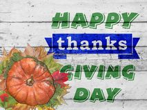 Mercis heureux donnant le jour et le potiron avec des feuilles d'automne sur le blanc image stock