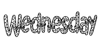 Mercredi Lettrage abstrait pour la carte, invitation, T-shirt, affiche, bannière, plaquette, journal intime, album, couverture de illustration stock
