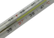 Mercurial thermometerschaal (36.6) die op w wordt geïsoleerde Royalty-vrije Stock Foto