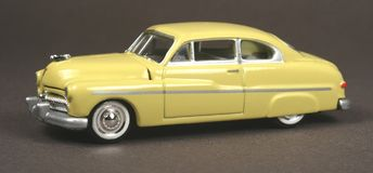 Mercury 1949 Coupe. 1949 Mercury Coupe, Racing Champions 1:64 scale die cast vintage car replica royalty free stock photo