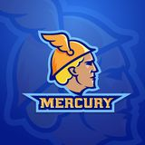 Mercury Abstract Vector Team Logo, Emblem or Sign. Ancient Roman Mythology Trade God. Sport Logotype Style Concept. Blue Background Stock Image