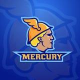 Mercury Abstract Vector Team Logo, emblema o muestra Roman Mythology Trade God antiguo Concepto del estilo del logotipo del depor Ilustración del Vector