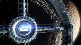 Mercury on backdrop. Spaceship flies into the door of giant space torus and flickers with engines lights, 3d animation
