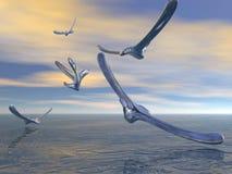 Mercury birds. Fly over the methane ocean Stock Photos
