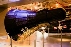 Mercury Capsule Replica en el museo intrépido, NYC Imagenes de archivo
