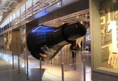 Mercury Capsule Replica at Intrepid Museum, NYC. An exact replica of the Mercury Space Capsule on display at the Intrepid Sea, Air & Space Museum in Manhattan Stock Photos