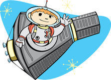 Mercury Capsule and Space Boy Royalty Free Stock Images