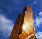 Mercury City Tower in Moskou wijst op de zonnestraal Stock Afbeelding