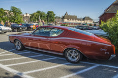 1969 Mercury Cyclone 2 door Hardtop. Every Wednesday during the months of May to August there is a veteran car meeting with American cars at the fish market in Royalty Free Stock Images