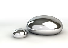 Mercury Droplets On White Fotos de Stock Royalty Free