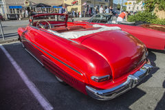 1950-51 Mercury Eight Convertible. Every Wednesday during the months of May to August there is a veteran car meeting with American cars at the fish market in royalty free stock images