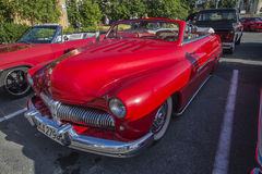 1950-51 Mercury Eight Convertible. Every Wednesday during the months of May to August there is a veteran car meeting with American cars at the fish market in royalty free stock photos