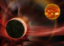 Mercury en de Zon stock afbeeldingen