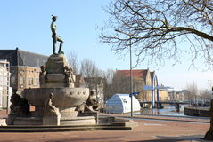 Mercury Fountain in Leeuwarden, Holland Stock Photography