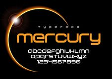 Mercury futuristic minimalist font design, alphabet, typeface, l. Etters and numbers, typography. Swatch color control royalty free illustration