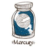 Mercury in a glass jar. The planet of the solar system in a glass bowl on a stand. Illustration for design on the royalty free illustration