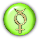 Mercury Glyphs. Planet Glyphs Button - Mercury (Include Clipping Path Royalty Free Stock Photo