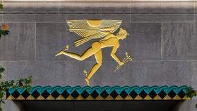 Mercury God in Rockefeller-Mitte Stockbild