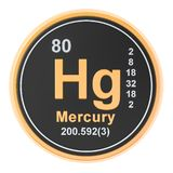 Mercury Hg chemical element. 3D rendering. Isolated on white background royalty free illustration